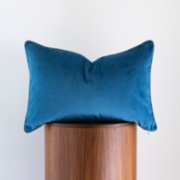 Phoenix Pillows  Blue Lumbar Pillow with Stripe Patterned Piping Detail
