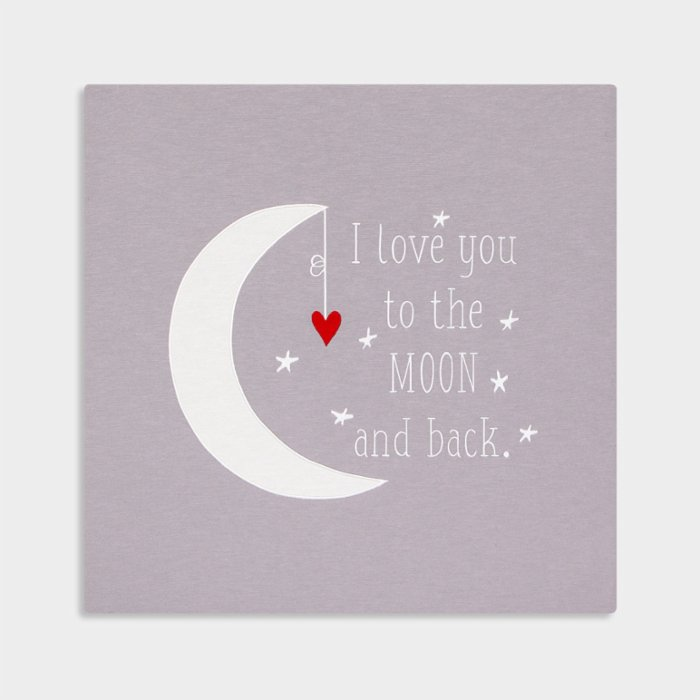 2 Stories I Love You To The Moon And Back Embroidered Canvas
