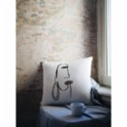 Table and Sofa One Line Woman Pillow