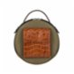 Baa Lotte - Green With Fabric With Brown Crocco Shoulder Bag