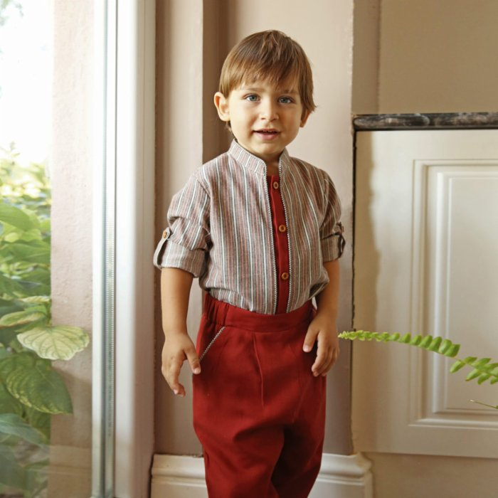 miniscule by ebrar Bourgondie Shirt and Pants Set