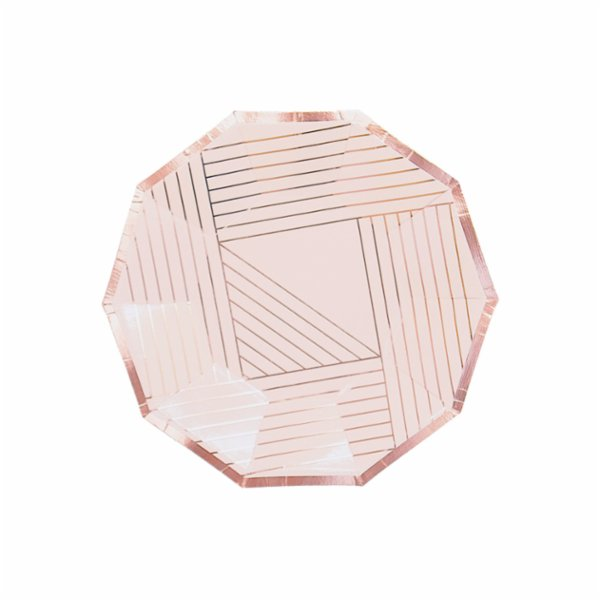 Harlow&Grey Manhattan - Pale Pink Striped Small Paper Plates 8Set