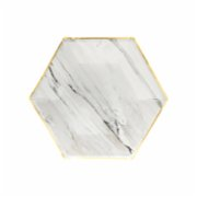 Harlow&Grey  Goddess - White Marble Small Paper Plates 8Set