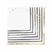Harlow&Grey  Rebelle - Black and White Brush Strokes Lunch Paper Napkins 20Set