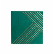 Harlow&Grey  Manhattan - Dark Green Striped Cocktail Paper Napkins 20Set
