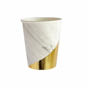 Harlow&Grey  Blanc - White Marble Colorblock Paper Cups