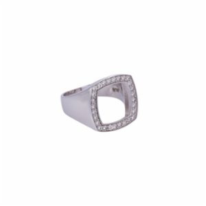 Juju  Silver Hollow Square with Stones Ring