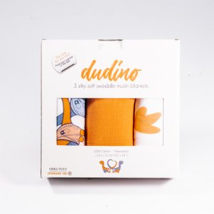 Dudino  Muslin Swaddle Blankets - Set Of 3 - Dudino & Orange & Dino Feet