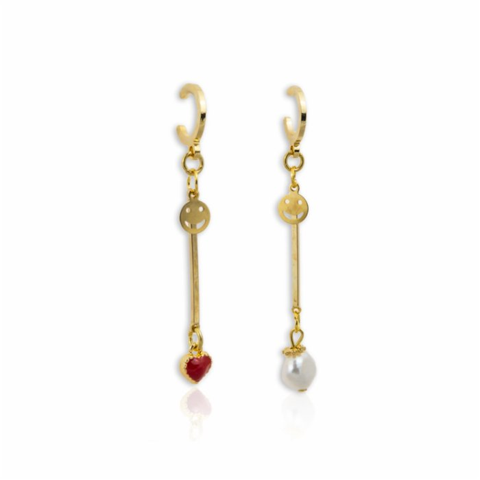 Third Heart and Pearl Drop Earrings