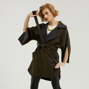 113 Studio  Rever Cut Out Cuff Coat