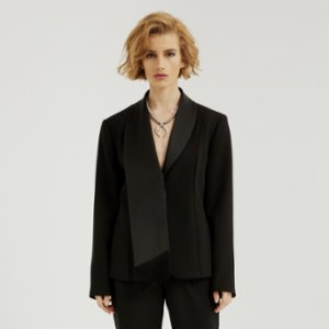 113 Studio  Satin Scarf Detailed Jacket