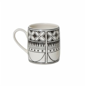 Warm Design	  Stoneware Mug w/ Black Pattern