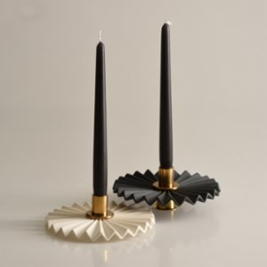 Oolo Studio  Plise Porcelain and Brass Candle Holder Set