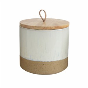 Warm Design	  Wood Lid Stoneware Jar