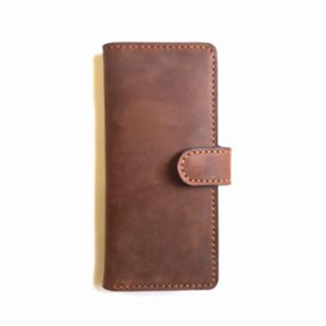Sakin Leather	  Brown Maxi Wallet With Snaps