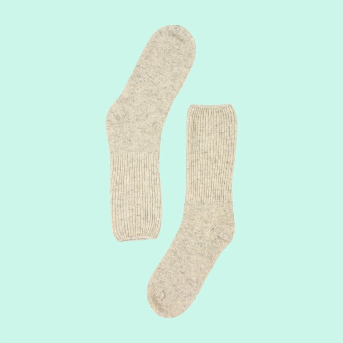 One Two Sock Cream Fuzzy Socks