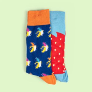 One Two Sock  Banana - Strawberry Patterned 2 Pieces Special Designed Men's Socks