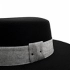 Michrame Boater Grey Black Unisex Hat