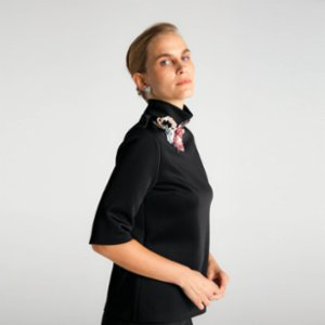 Vision of Sulz  Blossom On My Neck Scuba Blouse