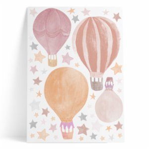 Pop by Gaea  Watercolor Stars & Hot Air Baloons Pink Sticker