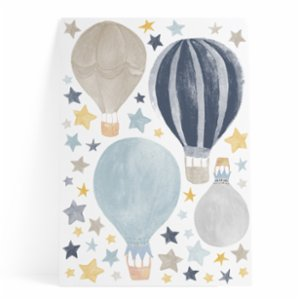 Pop by Gaea  Watercolor Stars & Hot Air Baloons Blue Sticker