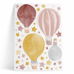 Pop by Gaea  Watercolor Stars & Hot Air Baloons Mustard Sticker