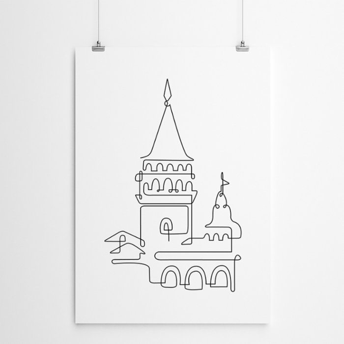 Fabl The Galata Tower In A Single Line Print