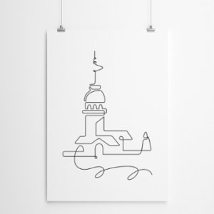Fabl  The Maiden's Tower In A Single Line Print