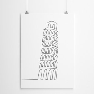Fabl  The Leaning Tower of Pisa In A Single Line Print
