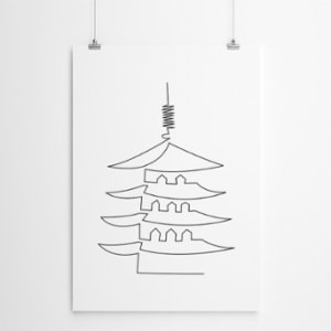 Fabl  The Nara-Japan In A Single Line Print