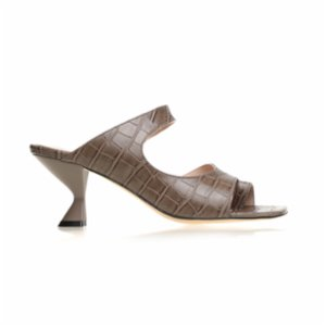 Gardrop Studio 900  Square Toe Croco Strap Mule Sandals