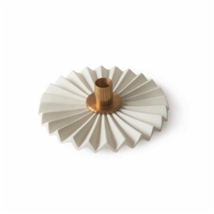 Oolo Studio  Plise Porcelain and Brass Candle Holder