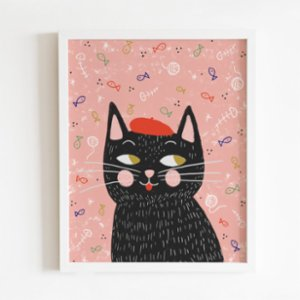 Omm Creative  Painter And Cat Poster