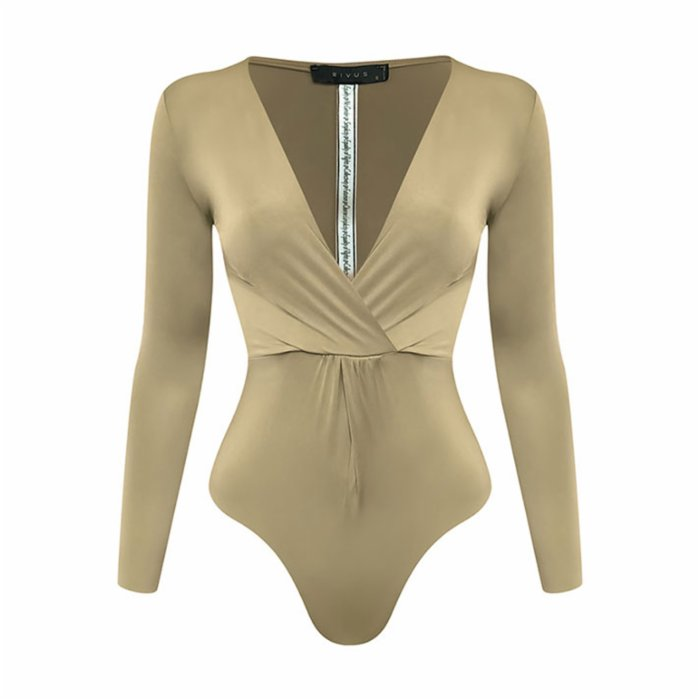 Rivus Front Twisted Long Sleeve Bodysuit