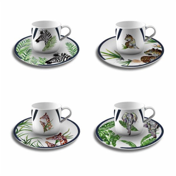 Fern&Co. Serengeti Colleciton The Wild Mix Coffee Cup (Set of 4)