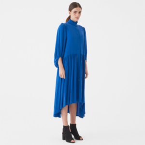 Giyi  Vegan Puff Sleeves Mini Ruffled Collar Wide-cut and Asymmetric Cupro