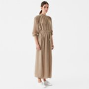 Giyi  Vegan Round Neckline Heavily Draped Wide-cut Midi Cupro Dress
