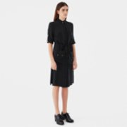 Giyi  Vegan Buttondown Utility Pockets Midi Cupro Dress