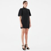 Giyi  Vegan Puff Sleeves Straight-cut Mini Cupro Dress