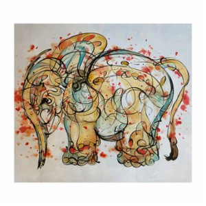 Sauca Collection  Suchart Motion Elephant on Canvas