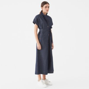 Giyi  Vegan V-neck Belted Tie Waist Midi Denim Dress