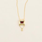 Mi Mujer Atelier  Rectangle With Garnet Necklace - I
