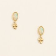 Mi Mujer Atelier  Three Dots Earrings & Fire Opal