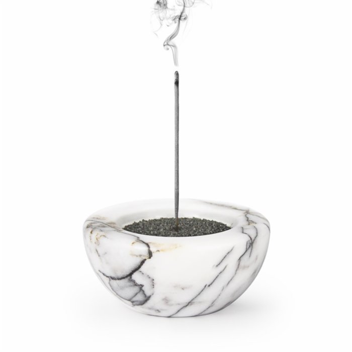 Coho Objet	 Crystal Globe Lilac Marble Incense Holder