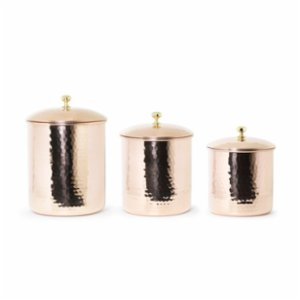 Coho Objet	  Artisan Elegant Copper Hammered Spice Jar Set Of 3