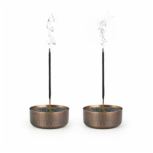 Coho Objet	  Antique Meditation Copper Incense Burner With Sand Set of 2