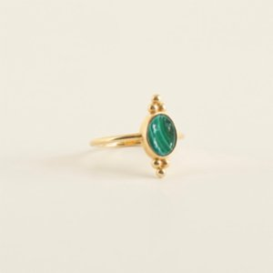 Mi Mujer Atelier  Three Dots With Malachite Ring