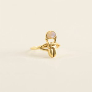 Mi Mujer Atelier  Scarab Ring With Fire Opal