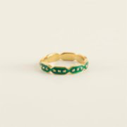 Mi Mujer Atelier  Full Round Octagon Ring With Green Enamel