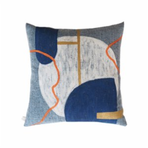 Table and Sofa  Matcat Blue Pillow